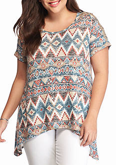 New Directions Weekend Plus Size Aztec Print Top