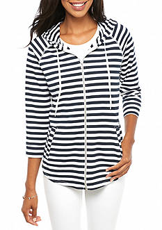 New Directions Weekend Stripe Zip Front Hoodie
