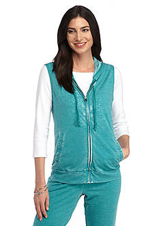 New Directions Weekend Relaxed Burnwash French Terry Hooded Vest