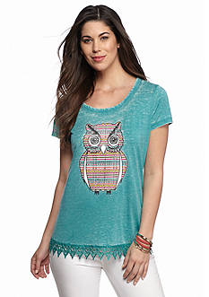 New Directions Weekend Relaxed Owl Screen Lace Hem Tee