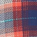 Plus Size Shirts: Coral New Directions Plus Size Plaid Lace Hem Top