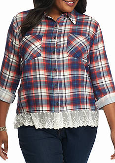 New Directions Plus Size Plaid Lace Hem Top