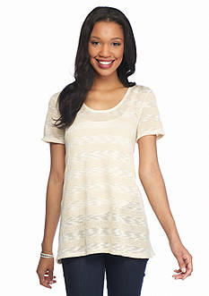 New Directions Lace Back High Low Striped Top