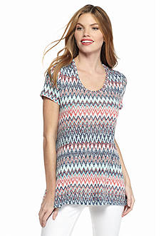 New Directions Tribal Chevron High Low Lace Top