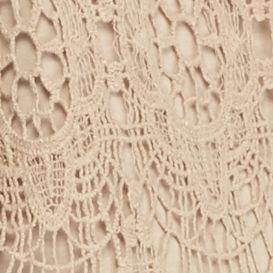 Women's T-shirts: Beach Road New Directions Lace Overlay Fringe Knit Back Tee