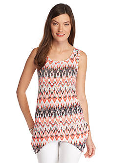 New Directions Weekend Printed Hanky Hem Tank