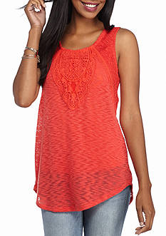 New Directions Medallion Embroidered Sweater Tank