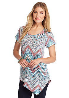 New Directions Weekend Multi Stripe Asymmetrical Top