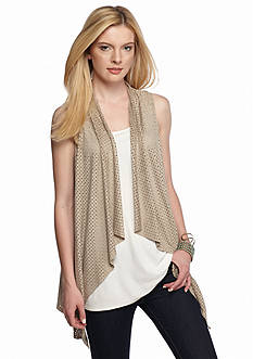 New Directions Faux Suede Laser Cut Drape Vest