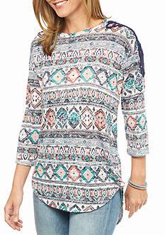 New Directions Weekend Crochet Shoulder Printed Top