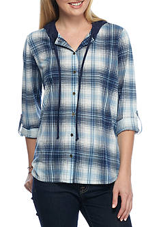 New Directions Weekend Hooded High Low Hem Plaid Shirt