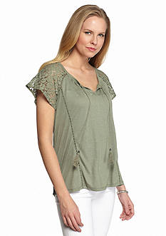 New Directions Lace Flutter Sleeve Swing Top