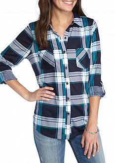 New Directions Weekend Plaid Button Front Shirt