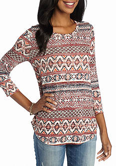 New Directions Weekend Aztec Crochet Evelope Back Top