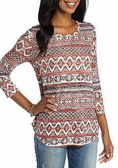 New Directions Weekend Aztec Crochet Evelope Back Top