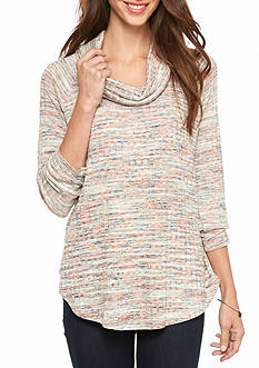 New Directions Marled Knit Cowl Neck Top