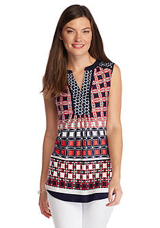 New Directions Twin Print Popover Top
