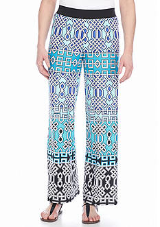 New Directions Abstract Geo Palazzo Pants