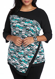 New Directions Plus Size Layered Mixed Print Top