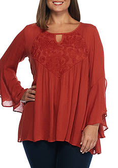 New Directions Plus Size Bell Sleeve Crochet Bib Crinkle Top