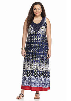 New Directions Plus Size Crochet Trim Printed Maxi Dress