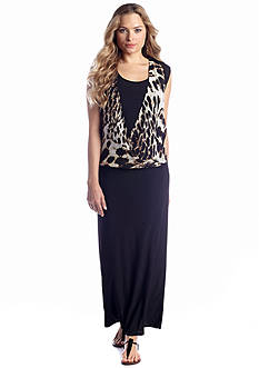 New Directions® Envelope Front Animal-Print Maxi Dress