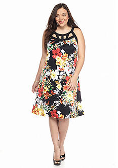 New Directions Plus Size Floral Cutout Dress