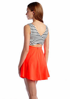 Double Zero Stripe Open Back Skater Dress