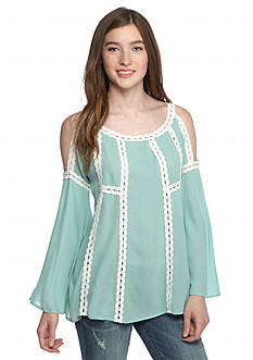 Double Zero Cold Shoulder Lace Trim Long Sleeve Blouse