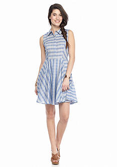 Fashion On Earth Striped Sleeveless Shirt Dress
