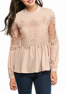 Double Zero Lace Overlay Peplum Top