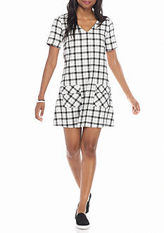 HYFVE Short Sleeve Plaid Pocket Dress