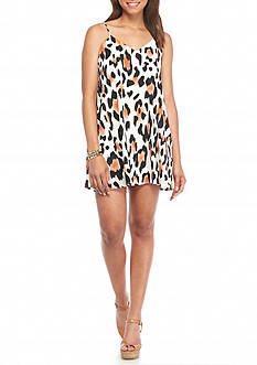 Peach Love Cream Leopard Print Slip Dress