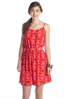 Peach Love Cream Tribal Printed Tank Dress