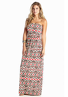 Peach Love Cream Geo Maxi Dress