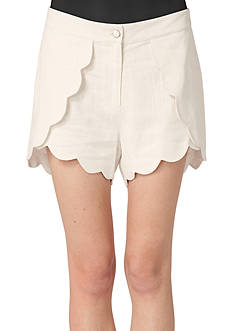 Peach Love Cream Scalloped Wrap Shorts