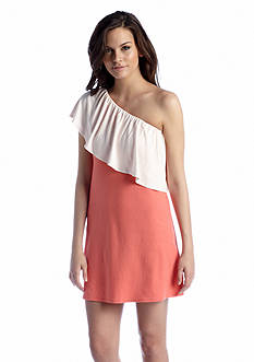Megan Masters Two-Tone One Shoulder Dress