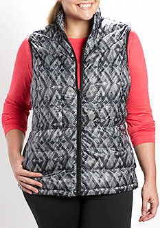 be inspired Plus Size Packable Printed Puffer Vest