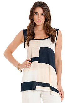 joan vass Scoop Neck Mismatch Tank