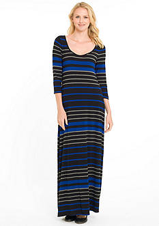 joan vass Stripe Scoop Neck Maxi Dress