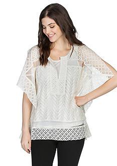 joan vass Crochet Trim Split Sleeve Top