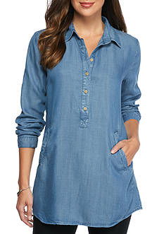 joan vass Chambray Long Sleeve Tunic