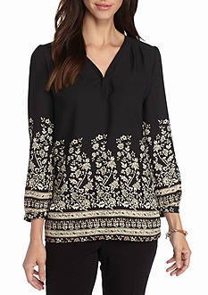joan vass Print Pleated Top