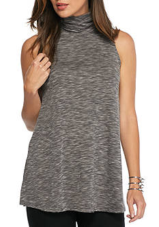 joan vass Marled Sleeveless Turtleneck Top