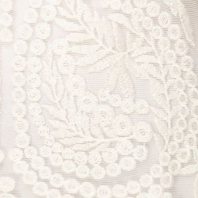 Womens Designer Clothing: Tops: Ivory joan vass Boat Neck Lace Top