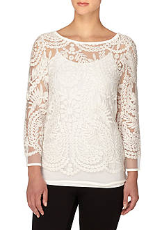 joan vass Boat Neck Lace Top
