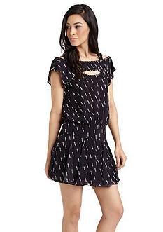 Sam Edelman Crepe Chiffon Cutout Flirty Printed Dress