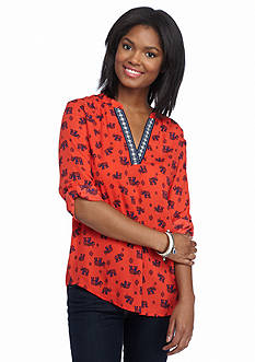 Society Girl Elephant Print Trim Blouse