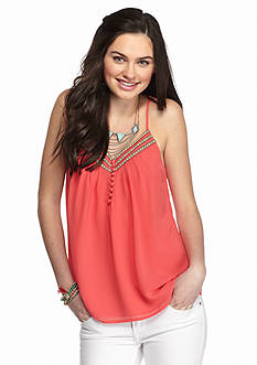 Society Girl Solid Button Front Swing Tank