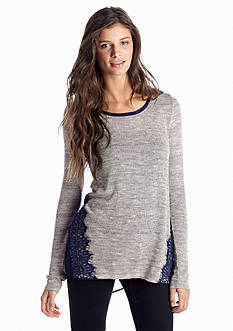 Society Girl Lace Trim Knit to Woven Blouse